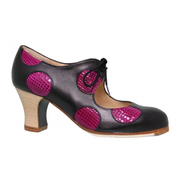 Black Leather Professional Shoe with Polka Dots Fantasy Fuchsia Snake