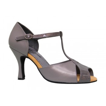 Combined Leather and Gray Patent Leather Ballroom Shoe