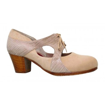 Professional flamenco dance shoe beige and fantasy suede