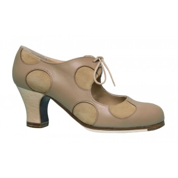 Beige Leather Professional Shoe with Beige Suede Polka Dots