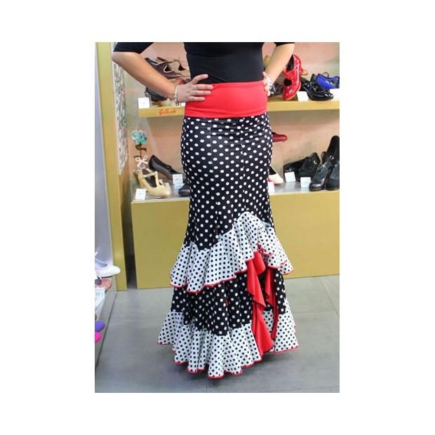 Falda Flamenco Negra Lunares y Volantes