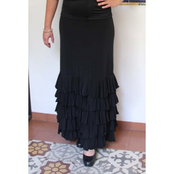 Black Flamenco Skirt Zagra with 5 ruffles