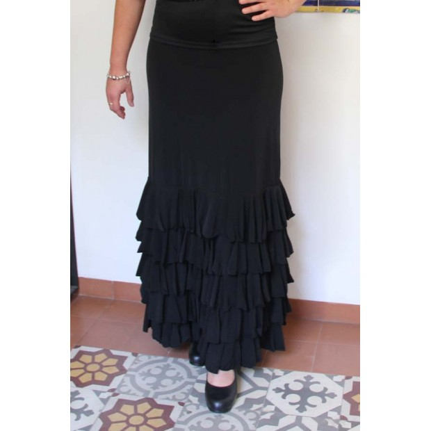Black Flamenco Skirt Zagra with 5 ruffles