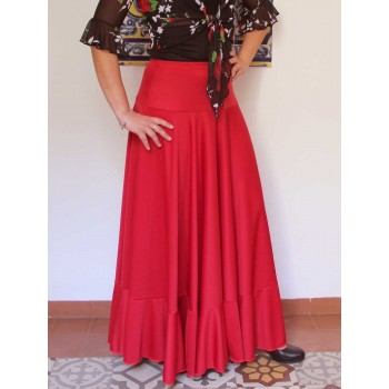 Red flamenco skirt with 1 ruffle
