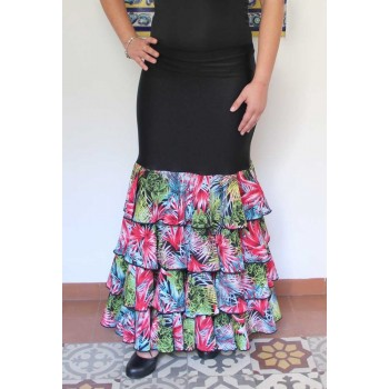 Black flamenco skirt with four ruffles