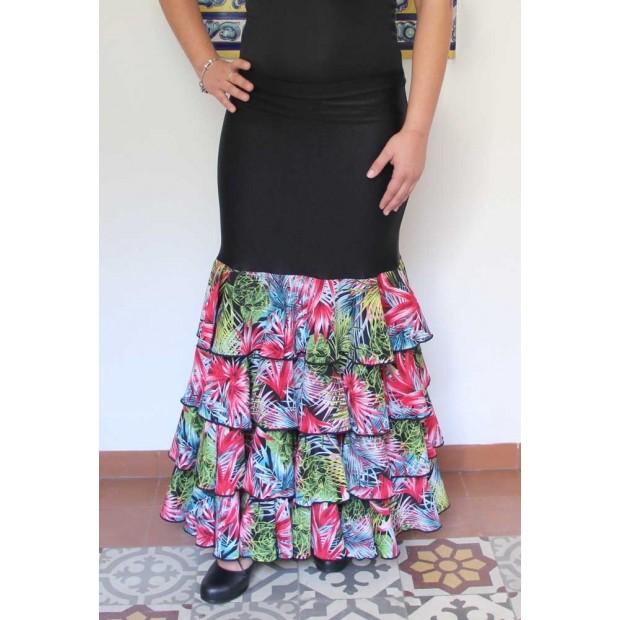 Black flamenco skirt with four ruffles