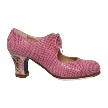 Professional Flamenco Dance Shoe Pink Snake