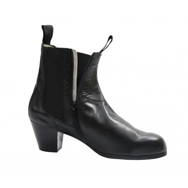 Professional Flamenco Boot Black Leather with Zip