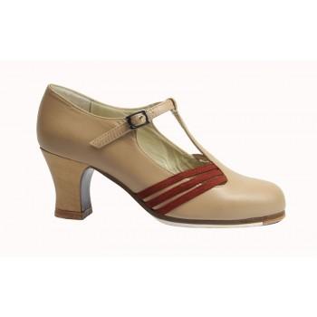 Chaussure professionnelle en cuir daim beige et marron avec boucle