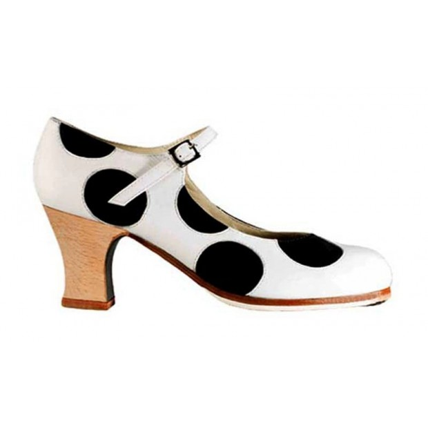 White Leather and Black Leather Polka Dot Professional Shoe with Buckle