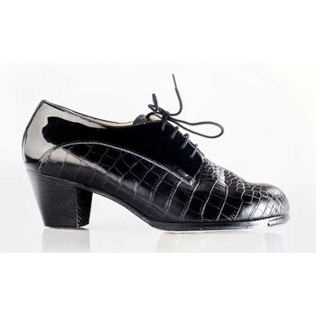 Professional Flamenco Shoe Combined Coco and Black Patent Leather
