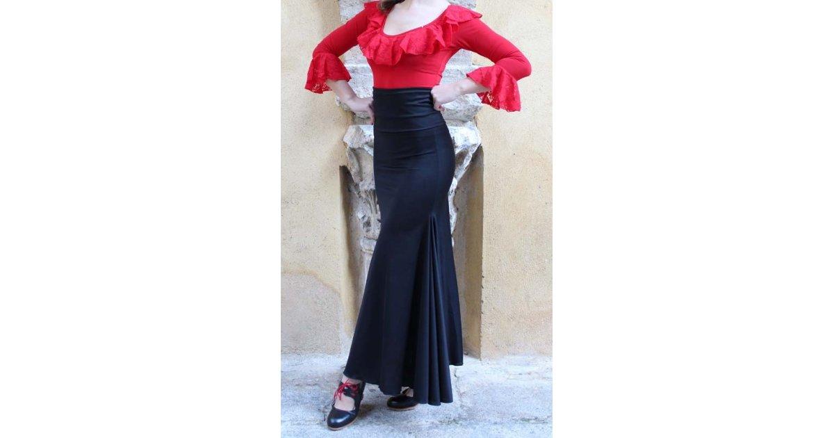 Falda Flamenco Negra Ceñida con Fajin