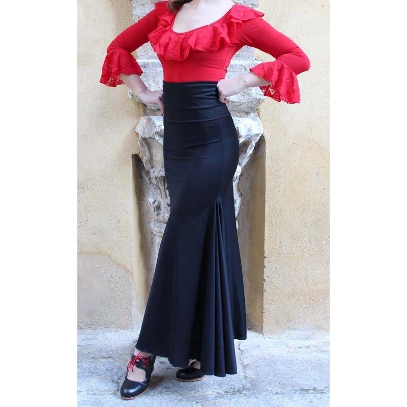 0d7fb7a082d Falda Flamenco Negra Ceñida con Fajin - Zapatos de Baile Flamenco