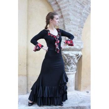 Falda Flamenco con 2 volantes y chorrera