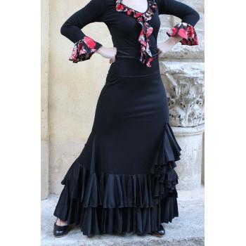 Jupe de danse flamenco à 2 volants et jabot.