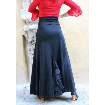 Falda Flamenco Negra con Volantes Traseros