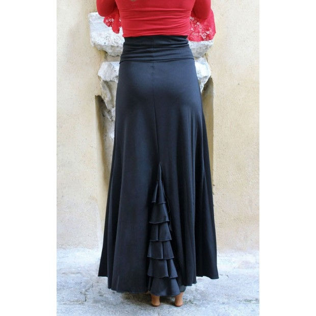 Black Flamenco Skirt with Back Ruffles