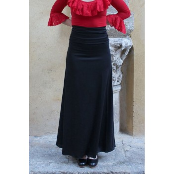 Black Flamenco Skirt with Back Ruffles