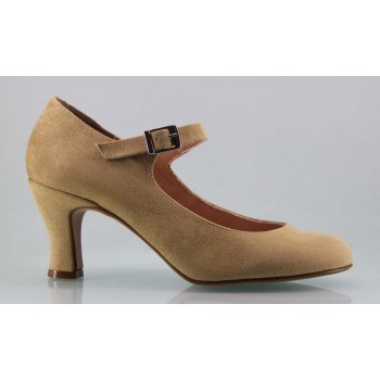 Flamenco shoe camel in synthetic suede