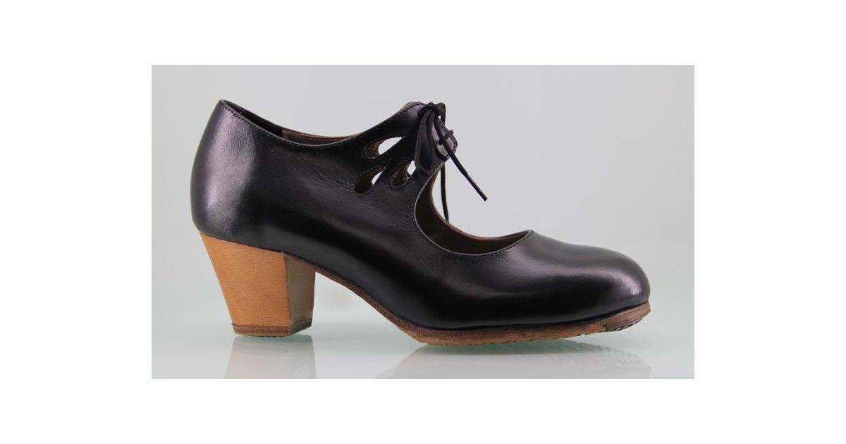 Zapato baile flamenco profesional piel negro lágrimas caladas