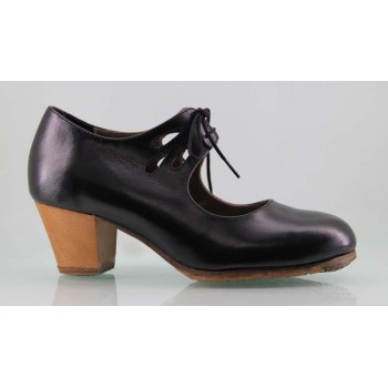 Professional flamenco dance shoe black skin tears