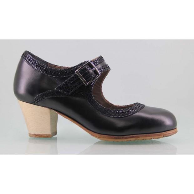Zapato baile flamenco profesional piel negro y fantasía con hebilla ancha