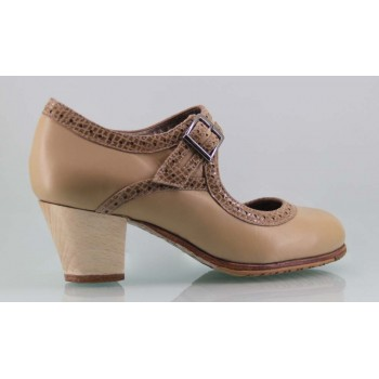 Flamenco dance shoe professional beige and fantasy leather with wide buckle