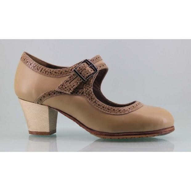 Zapato baile flamenco profesional piel beige y fantasía con hebilla ancha