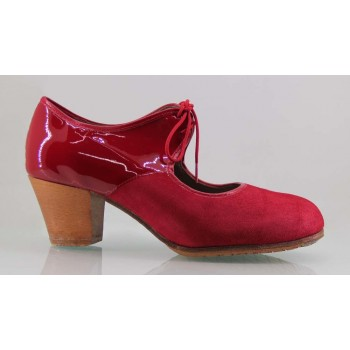 Professional flamenco dance shoe suede and red patent leather