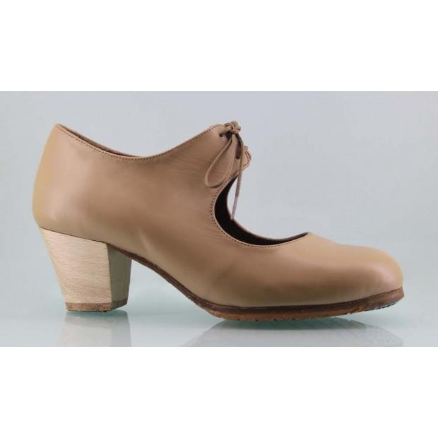 Zapato baile flamenco profesional piel beige con cordones