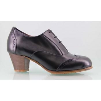 Zapato baile flamenco profesional piel negro con cordones