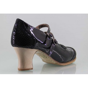 Zapato baile flamenco profesional charol y fantasía negro con dos hebillas