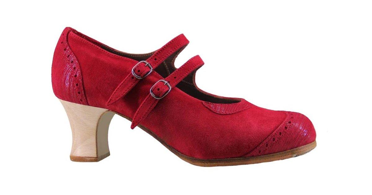 Zapato baile flamenco profesional ante y fantasía rojo con dos hebillas