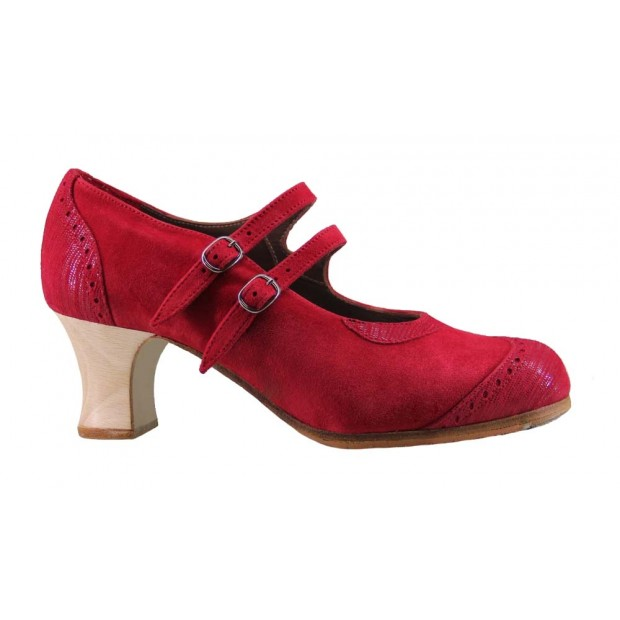 Flamenco professional red suede and fantasy flamenco shoe with two buckles