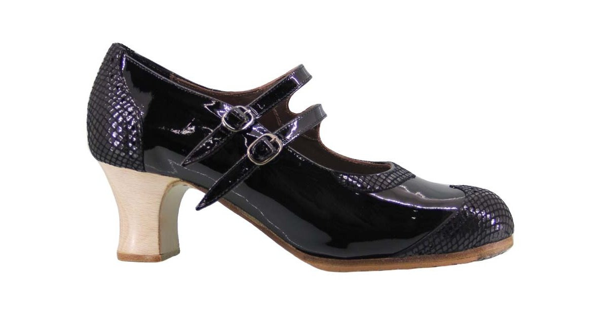 Professional flamenco dance shoe patent leather and black fantasy with two buckles