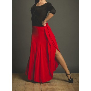 Red Flamenco Skirt With Godets