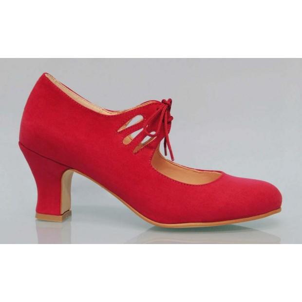 Flamenca Cordones Antelina Rojo