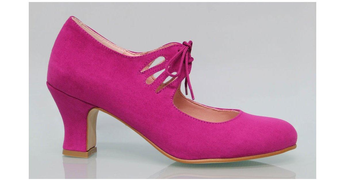 Fuchsia suede flamenco shoe with laces.