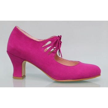 Fuchsia suede flamenco shoe with laces.