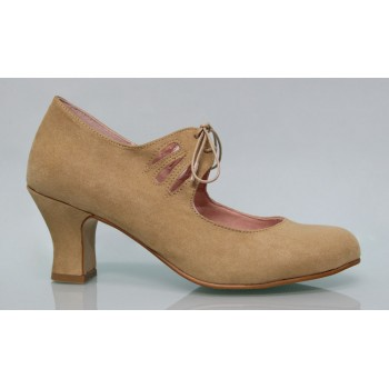 Flamenca Lace-up Synthetic Suede Camel