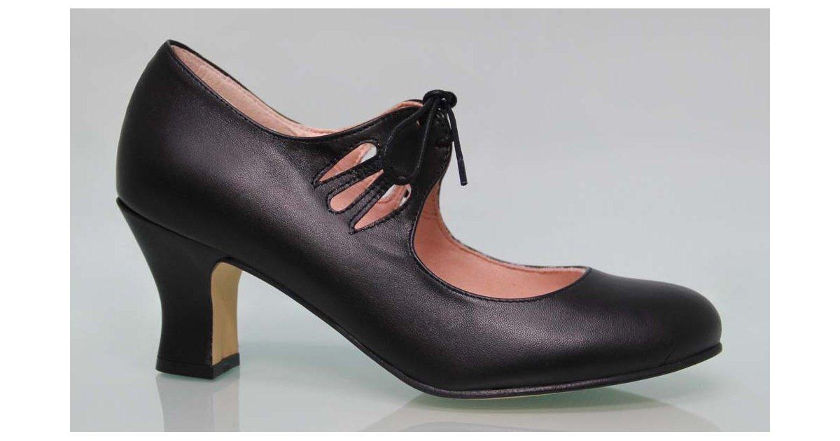 Flamenca Cordones Piel Negro