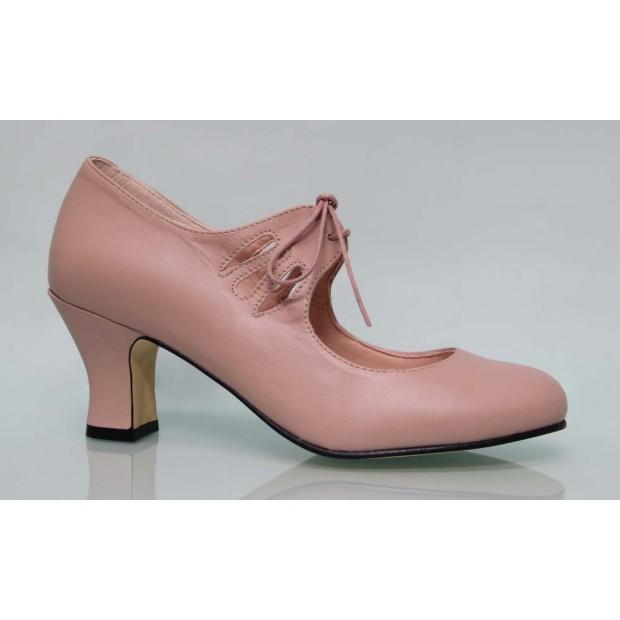 Flamenca Cordones Piel Rosa