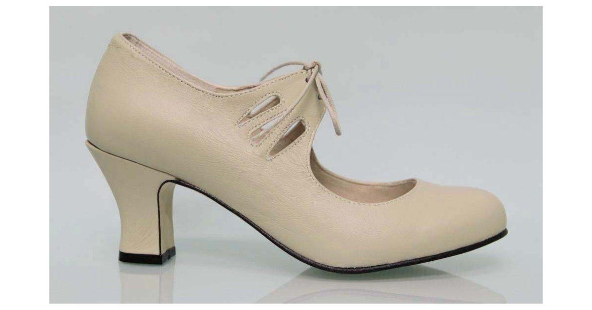 Flamenca Laces Beige (Bone) Leather