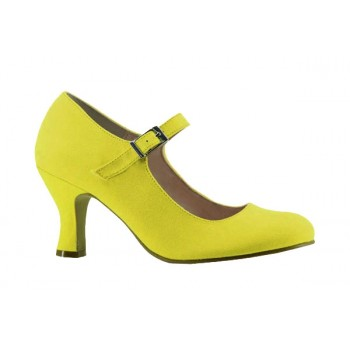 Yellow Canvas Flamenco Shoe