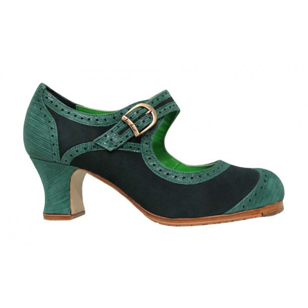 Professional Flamenco Dance Shoe Combined Green Suede and Fantasia