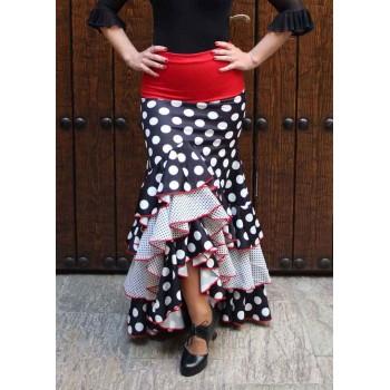 Jupe flamenco noire à pois et volants