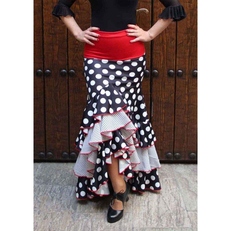 10a7b72fe Falda Flamenco Negra Lunares y Volantes - Zapatos de Baile Flamenco