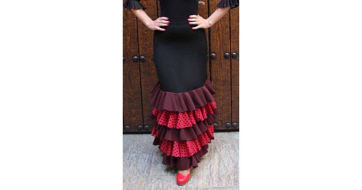 Falda Flamenco Negra con Volantes de Lunares