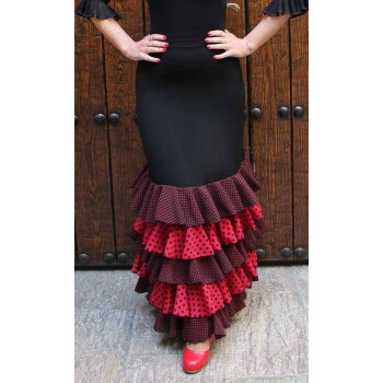 Black Flamenco Skirt with Polka Dot Ruffles