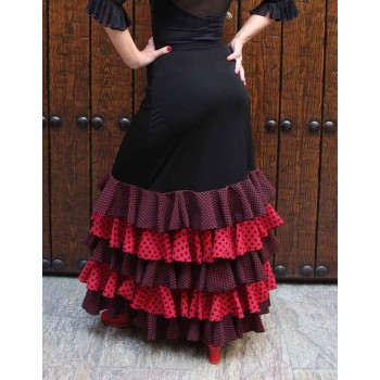Black Flamenco Skirt with Polka Dot Ruffles